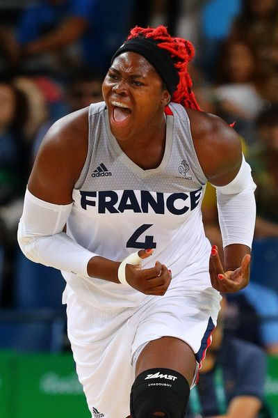 Isabelle Yacoubou #4 of France reacts during the Women's Bronze Medal basketball game between France and Serbia on Day 15 of the Rio 2016 Olympic Games at Carioca Arena 1 on August 20, 2016 in Rio de Janeiro, Brazil.