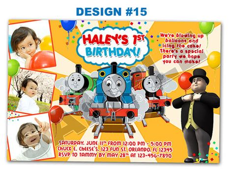 Thomas The Tank Train Birthday Party 3 Photo 1st First 2 Two Invitations Boy
