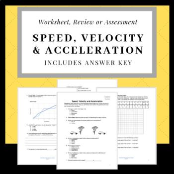 Calculating And Graphing Speed Velocity And Acceleration Quiz