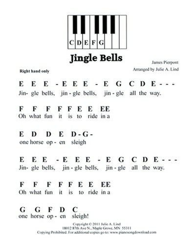 Jingle Bells Free Easy Piano Music Pianomusic With Images