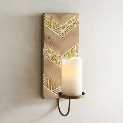 We Love How A Simple Chevron Design Evolves Into Updated Rustic Elegance With The Addition Of Altern Candle Wall Sconces Wall Candle Holders Copper Wall Sconce