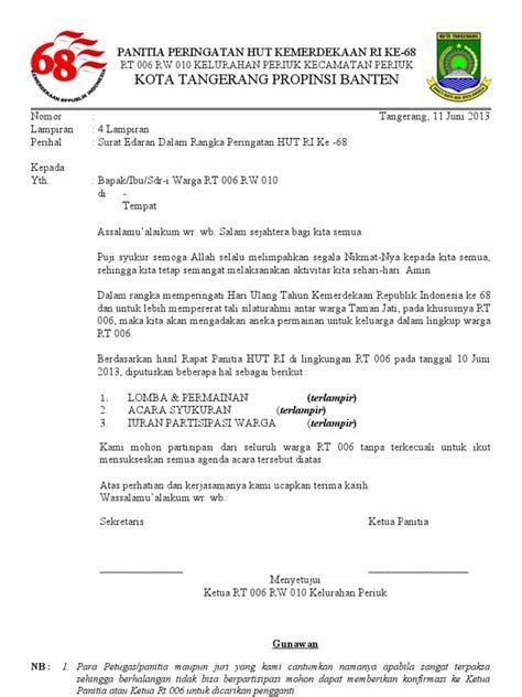 Contoh Surat Undangan Persiapan Hut Ri Contoh Surat