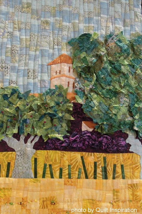 "View of Arles With Irises, 80 x 65"", made and quilted by The Fab 5 Group (Carole Pirruccello, Cathy Brorby, Phyllis McCalla, Jan Bawart and Jan Soules.)  2014 RCQG, photo by Quilt Inspiration"