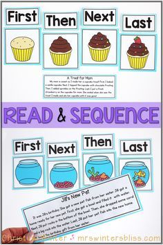 Have students read the passage and cut and paste the pictures in order of events. This teaches basic sequencing of events for younger learners. Sequencing Pictures, Sequencing Activities, Preschool Literacy, Montessori Activities, Language Activities, Reading Activities, Reading Skills, Kindergarten Activities, Teaching Reading