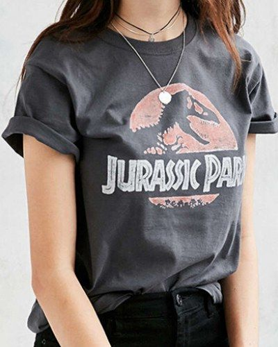Movie Jurassic Park T Shirt For Women Gray Short Sleeve Tee Shirts Jurassic Park T Shirt T Shirts For Women Tee Shirt Outfit