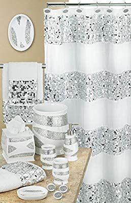 Amazon Com Popular Bath 838909 Sinatra Shower Curtain White Home Kitchen White Shower Curtain White Shower