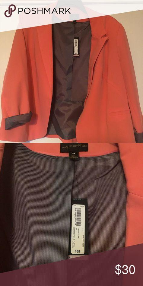 3e86da8dd1fbc Worthington Blazer 3x Worthington Blazer. Open front. NWT. Bright coral.  Worthington Jackets   Coats Blazers