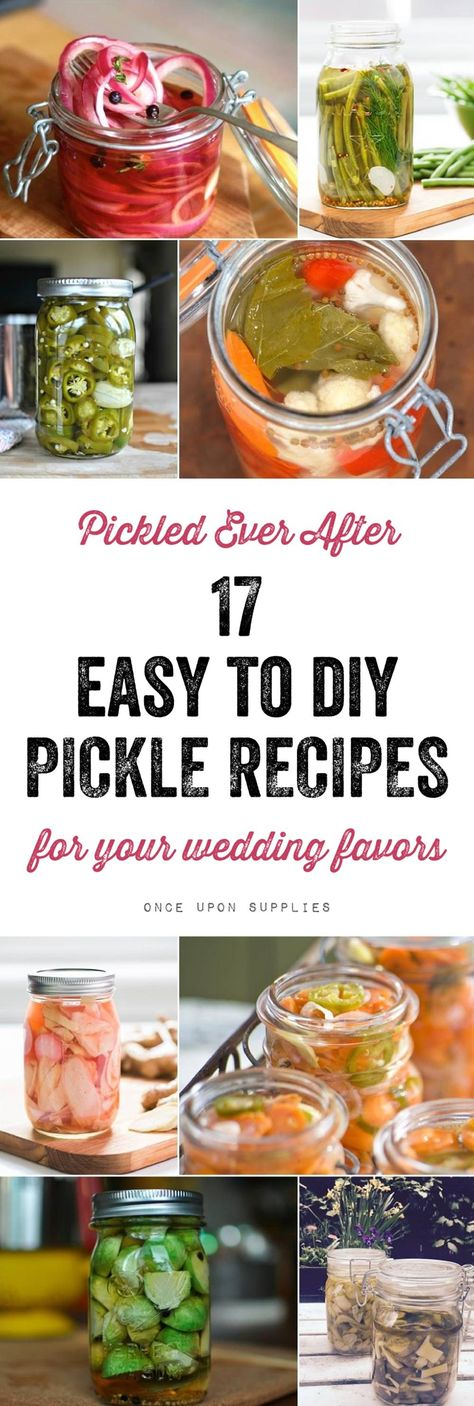 Pickled Ever After - 17 Pickle Recipes for Your Wedding Favors    Sweet, tangy and savory, pickled vegetables and fruits are the latest trend in homemade wedding favors. If you've been thinking about giving out something pickled as your wedding favors, we have made it easy for you. Below is our curated list of 17 delicious pickle recipes to wow your guests    #pickles #picklerecipes #homemadegifts #partyfavorideas #weddingfavorideas #rusticfavorideas #rusticwedding