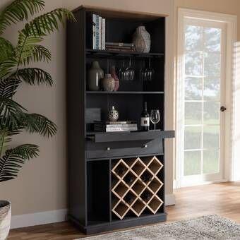 Addingrove Bar With Wine Storage In 2020 Wooden Wine Cabinet Wine Cabinets Wine Storage