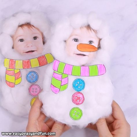 This Cotton Ball Snowman Craft makes the cutest little DIY Christmas card ever. It's cute, it's fluffy and it's personal.