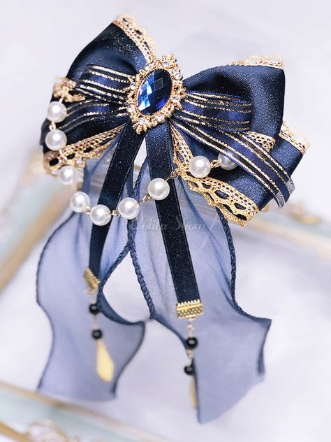 Classic Lolita Bow Headdress Blue Chains Ribbon Lolita Hair Accessories - Lolitashow.com