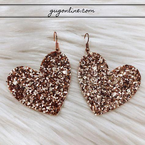 Gold Hoop Earrings / Solid Gold Hoops / Thin Gold Hoop Earrings/ Tiny Gold Hoops / Simple Gold Hoops/ Rose Gold Hoops - Fine Jewelry Ideas - Glitter Heart Earrings in Rose Gold - Diy Leather Earrings, Silver Hoop Earrings, Diy Earrings, Heart Earrings, Chandelier Earrings, Leather Jewelry, Crystal Earrings, Diamond Earrings, Flower Earrings