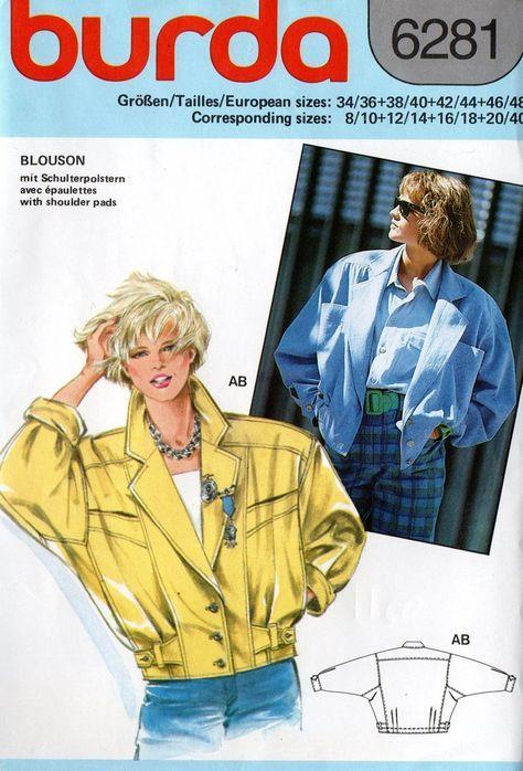 Burda 6281 Womens Oversized Bomber Jacket 80s Vintage Sewing Pattern Sizes 8 40 Uncut Factory Fo Vintage Sewing Jacket Pattern Sewing Vintage Sewing Patterns