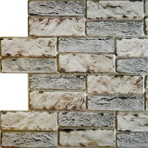 Dundee Deco 3d Falkirk Retro 20 1000 In X 38 In X 19 In Dark Beige Grey Faux Old Brick Pvc Wall Panel Tp10017860 The Home Depot Brick Wall Paneling Faux Brick
