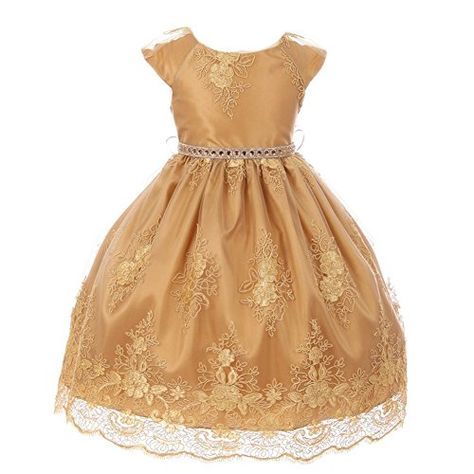 fe8dc973886 Cinderella Couture Big Girls Gold Coiled Lace Rhinestone Flower Girl  Christmas Dress 8-12