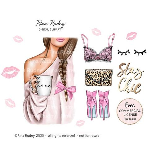 Morning coffee clipart, coffee clipart, tea clipart, fashion girl clipart, bow clipart,pink sweater,