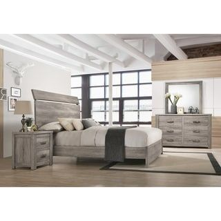 Floren Contemporary Weathered Gray Wood Bedroom Set Panel Bed
