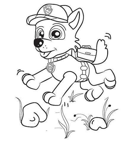 Rocky Paw Patrol Corre Felice Disegni Per Bambini Da Colorare