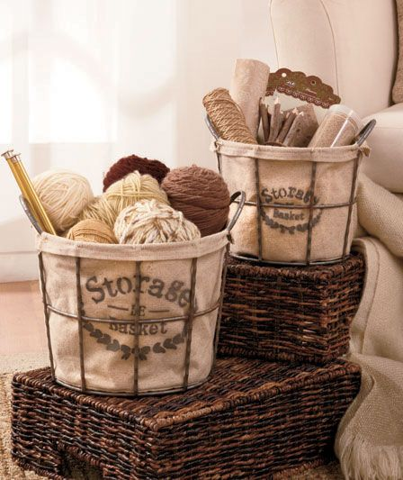 Sets Of 2 Fabric Lined Wire Baskets   They Provide #organization And They  Look Good! | Lakeside Collection | Pinterest | Wire Basket, Decorative  Storage And ...