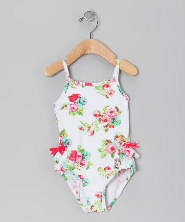 Take a look at this White Rose Ruffle One-Piece - Infant, Toddler & Girls by Marina West on #zulily today!
