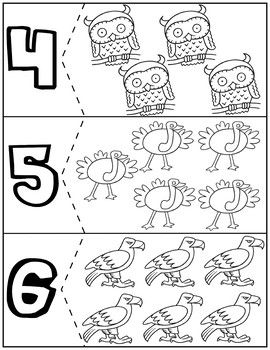 Birds Coloring Quantity Puzzles Numbers 1 10 Autism Activities