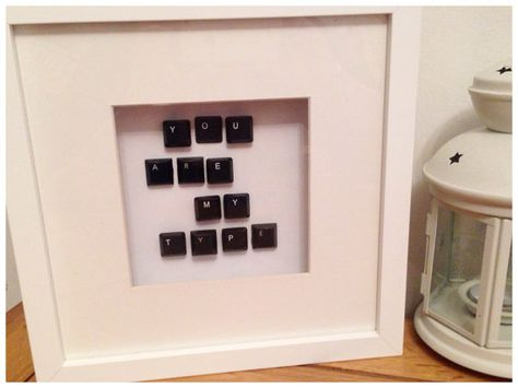 You are my type frame made with old Keyboard keys. Husband boyfriend birthday anniversary gift
