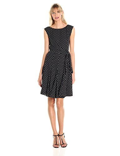Tahari by Arthur S Levine Womens Sleeveless Polka Dot Sheath
