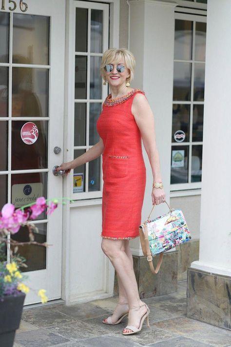 Fashion Over 40: Coral fringe neck shift dress | Fabulous After 40 #styleover40 #fashionover40 #womensfashionover50petite