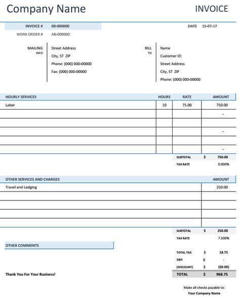 Restaurant Bill Invoice Template Excel Template Pinterest - invoice services