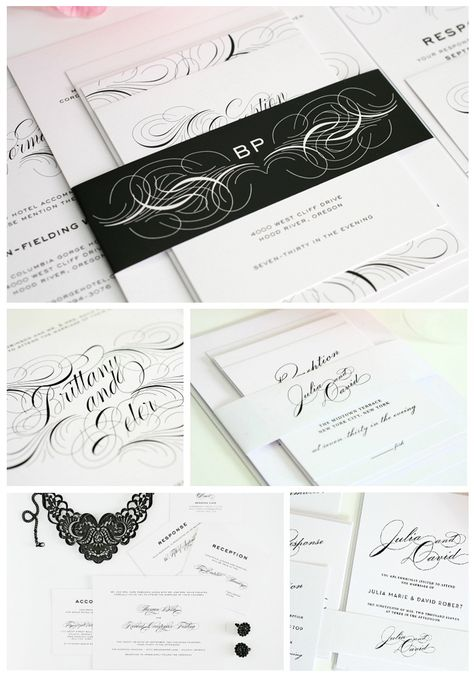 Glamorous wedding invitations.  So luxe!
