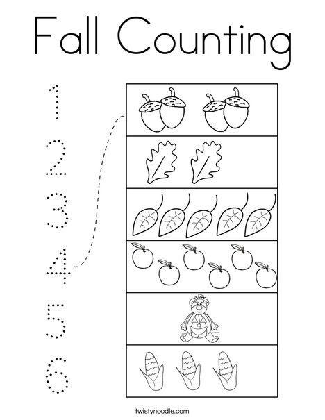Fall Counting Coloring Page Twisty Noodle Coloring Pages Fall Mini Books