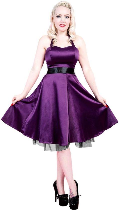 59d551f1126 H R London Purple Satin Sweetheart 50 s Halter Dress