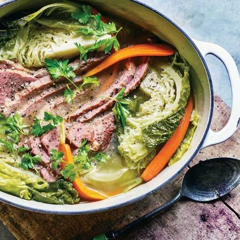 Corned beef and cabbage recipe ideas...you can boil the corned beef and cabbage in a large pot on the stove, or braise it in a Dutch oven; the latter requires less supervision.