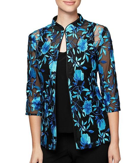 Alex Evenings Womens Plus Embroidered Sequined Twinset