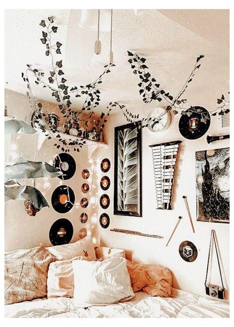 Cute Bedroom Decor, Teen Room Decor, Room Ideas Bedroom, Bedroom Inspo, Dorm Room Themes, Bohemian Bedroom Decor, Girl Bedroom Designs, Dream Bedroom, Indie Room