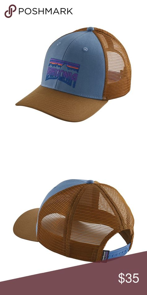 43559b7f584 Patagonia Fitz Roy Frostbite Trucker Hat Patagonia Fitz Roy Frostbite  Trucker Hat. Railroad Blue. Midcrown. Unisex. Organic Cotton.