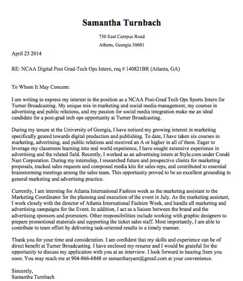 cover letter for turner broadcasting ncaa digital post grad program my resume pinterest resume ideas