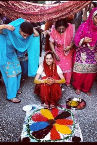 Family Colorful Indian Punjabi Wedding Maiyan Ghana Chura Viah Bride Chunni Jaggo