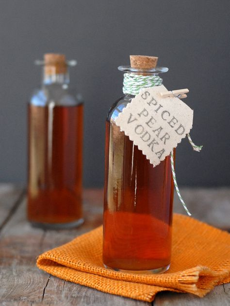 This homemade infused vodka with seasonal pears, ginger, cinnamon, and cloves is perfect over ice for a martini or to spike a hot toddy to warm you up.