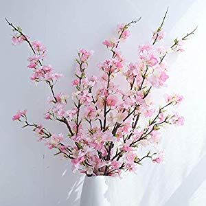 Yuyao Artificial Cherry Blossom Flowers 4pcs Peach Branches Silk Tall Fake Flower Arrangements For Home Wedding Decoration 41inch Pink Silk Flower Arrangem Fake Flower Arrangements Artificial Cherry Blossom Tree Fake Flowers