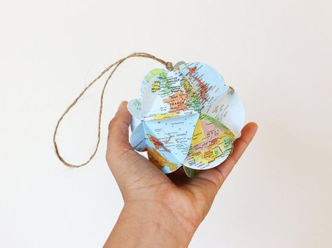 DIY Map Ornament Kit  Make Your Own Ornament From World Maps  Christmas Stocking Stuffer  Holiday Gift
