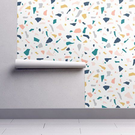Removable Water Activated Wallpaper Modern Terrazzo Earthtones Neutral Speckle Walmart Com Peel And Stick Wallpaper Abstract Wallpaper Spoonflower Wallpaper
