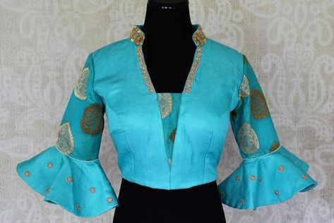 32084cf50fff9 Buy turquoise blue embroidered silk saree blouse with bell sleeves online  in USA. For Indian women in USA