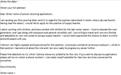 Supply Teacher Cover Letter Example | Cover letter example ...