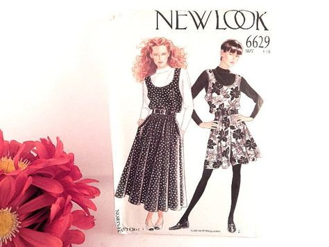 6c2277d2e Sewing Pattern Simplicity New Look 6629 Misses Sz 8 - 18 Jumper Dress  Gently Used Cut Pattern