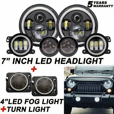 Ad Ebay 7 Led Headlight 4 Fog Halo Light Turn Signal Fender