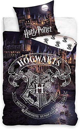 Carbotex Ensemble de lit Harry Potter Hogwarts Ch/âteau Castle Coton Housse de Couette 140x200cm et taie doreiller 50x75cm