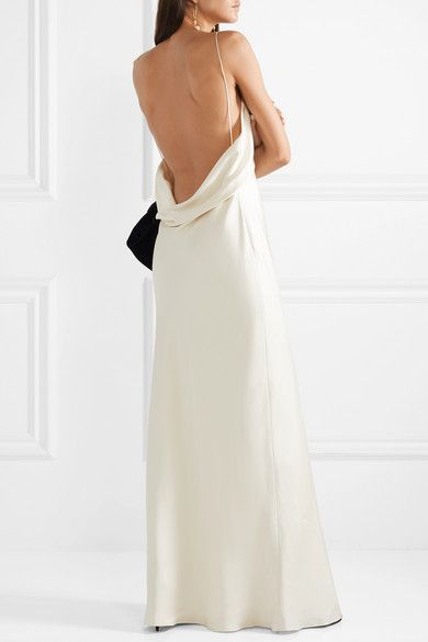 Ivory Gran Open Back Silk Satin Gown The Row Slip Wedding Dress Satin Gown Silk Satin Dress