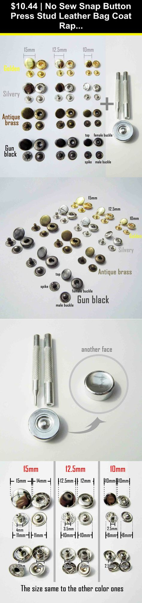 No Sew Snap Button Press Stud Leather Bag Coat Popper Rivet Fastener Repair Tool