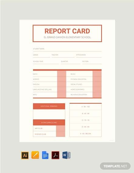 Instantly Download Free Elementary School Report Card Template Sample Example In Pdf Micros School Report Card Report Card Template Teacher Resume Template